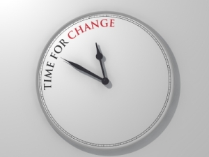 Clock saying 'time for change'